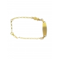 14Kt Yellow Gold Oval Link ID Bracelet with Teddy Bear Charm (3.40gr)