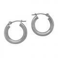 """14Kt White Gold 3mm Hoop Earrings 0.60"""" Diameter (1.10gr)"""