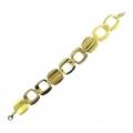 14Kt Yellow Gold Satin & Shiny Square Bracelet (9.50gr)