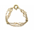 14Kt Yellow Gold Four Row Link and Pearl Stations Bracelet (10.40gr)