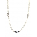 14Kt Two-tone Corrugated Oval Link with White Gold Heart Stations Necklace