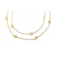 14Kt Yellow Gold Oval Link with Flat Diamond Cut Gucci Style Stations Necklace