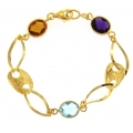 14Kt Yellow Gold Open Flat Links with Gucci, Citrine, Amethyst and Blue Topaz Station Bracelet (5.90gr)