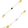 14Kt Yellow Gold Open Flat Links with Gucci, Citrine, Amethyst and Blue Topaz Stations Necklace (9.30gr)