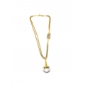 14Kt Two-tone Two Strand Stirrup Necklace (17.10gr)