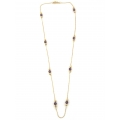 14Kt Yellow Gold Diamond Cut Boston with Briolette Amethyst Station Necklace (3.00gr)