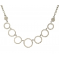 18Kt White gold Multi-Circle Diamond Necklace (1.24cts TW)