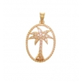 14Kt Yellow Gold Palm Tree Pendant with Rope Finish Frame (0.25cts tw)