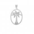 14Kt White Gold Palm Tree Pendant with Rope Finish Frame (0.25cts tw)
