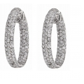 14Kt White Gold Three Row Pavé Diamond Inside & Out Hoop Earrings (3.00cts tw)