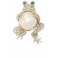 18Kt White Gold Pearl & Diamond Frog Pin (1.25cts tw)