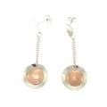 14Kt White & Rose Gold Curved Circle Dangle Earrings (4.00gr)