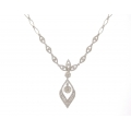 18Kt White Gold Fancy Drop Diamond Necklace (1.73cts tw)