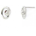 14Kt White Gold Diamond Swirl Stud Earrings (0.01cts tw)