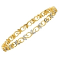 14Kt Yellow Gold  Flower Design Diamond Slip On Bangle (0.40cts tw)