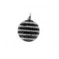 14Kt White Gold Single Cut Diamond & Black Diamond Striped Pendant (0.64cts tw)