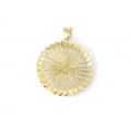 14Kt Yellow Gold Diamond Cut Wire Round Shape Pendant (5.50gr)