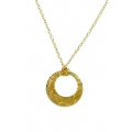 14Kt Yellow Gold Diamond Cut Oval Link Necklace with Round Cut out Pendant (5.30gr)