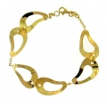 14Kt Yellow Gold Satin & Shiny Bean Shape Cut Out Bracelet (6.40gr)