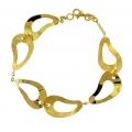14Kt Yellow Gold Satin & Shiny Bean Shape Cut Out Bracelet (6.40gr)