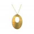 14Kt Yellow Gold Diamond Cut Oval Necklace with Oval Cut out Medallion (5.80gr)