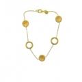 14Kt Yellow Gold Satin & Shiny Link Station Bracelet (4.30gr)