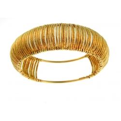 14Kt Yellow Gold 23mm Corrugated Slip-on Bangle (29.60gr)