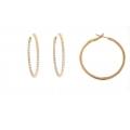 "18Kt Rose Gold 1.5"" Inside & Out Diamond Hoop Earrings (1.80cts tw)"
