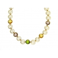 18Kt Yellow Gold Swirl Necklace with Amethyst, Citrine and Peridot (20.80gr)