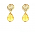 14Kt Yellow Gold Citrine with Diamond Cut Swirl Earrings (3.70gr)