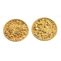 14Kt Yellow Gold Round Hammered Earrings with Omega Clip (5.60gr)