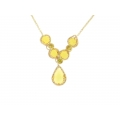 14Kt Yellow Gold Oval Link Necklace with Briolette Citrine (4.90gr)