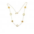14Kt Yellow Gold Satin & Shiny Link Station Necklace (6.70gr)