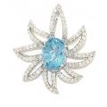 18Kt White Gold Blue Topaz & Diamond Flower Shape Pendant (2.90cts tw)