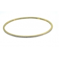 18Kt Yellow Gold  Pavé Diamond Eternity Slip On Oval Bangle (0.84cts tw)