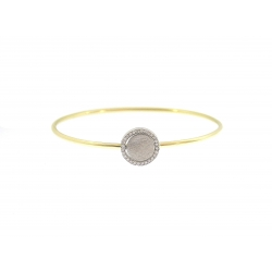 14Kt Two-Tone Round Disc with Diamond Bangle (0.20cts tw)