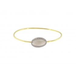 14Kt Two-Tone Oval Disc with Diamond Bangle (0.26cts tw)