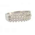 18Kt White Gold Three Row Diamond Band Ring (0.71cts tw)