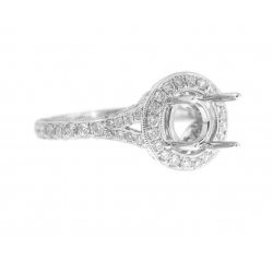18Kt White Gold Diamond Engagement Ring with Milgrain for 1.25cts Center (1.38cts tw)
