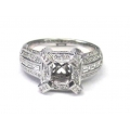 14Kt White Gold Baguette & Round Diamond Modern Engagement Ring For 4.5X4.5mm Center (1.05cts tw)