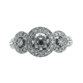 18Kt White Gold Round Diamond Antique Style Halo Design Engagement Ring For 0.25 carat Center (0.45cts tw)