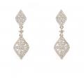 18Kt White Gold Fancy Diamond Dangle Earrings (1.48cts tw)