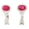18Kt Two-tone Oval Shape Rubies with Diamond Earrings (1.51cts tw)