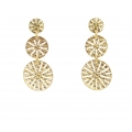 14Kt Yellow Gold Three Circle Laser Cut out Dangle Earrings