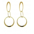 14Kt Yellow Gold Cut out Oval & Round Dangle Earrings (2.40gr)
