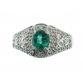 18Kt White Gold Oval Shape Emerald & Diamond Ring with Milgrain (0.75cts tw)
