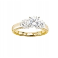 14Kt Two-tone Three Diamond Engagement Ring (1.00cts tw)