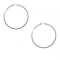 """14kt White Gold 1.2mm Hoop Earrings 1.25"""" Diameter (1.80gr)"""