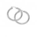 """14Kt White Gold 3mm Hoop Earrings 1"""" Diameter (2.60gr)"""