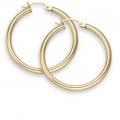 "14Kt Yellow Gold 3mm Hoop Earrings 1.5"" Diameter (3.30gr)"